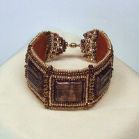 Handmade Bead Embroidered Bracelet in Browns