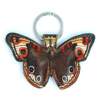 Special edition Leather keychain / key ring / bag charm - Brown and Orange butterfly with floral backing leather