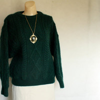 1970's IRISH green cable knit wool fishermans sweater M