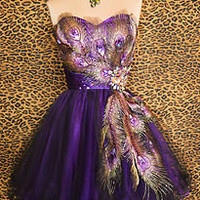 PURPLE PEACOCK PROM COCKTAIL EVENING BRIDESMAID PAGEANT SHORT GOWN DRESS S 4/6