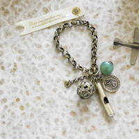 Whistle Charm Traveler Bracelet - Unique Vintage - Bridesmaid & Wedding Dresses