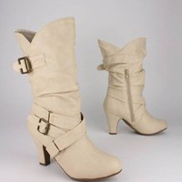 slouchy leatherette buckle trim boot 