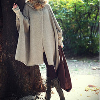 Women  apricot cape Coat winter coat Autumn Woman Wool Long Knitted Coat Sweater  cloth coat Hooded Cape/clothing /jacket  M-L