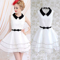 Black Lapel White Embroidery Top Dress Sleeveless Slim Dress Princess Dress