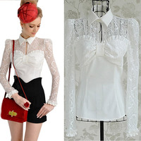 See-through Lace slim Shirts Lady slim Lapel Lotus shirts Blouses Tops