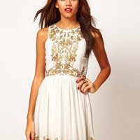 Beaded Embellished Skater Dress