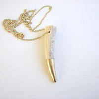 gold dipped antler tip necklace - paint dipped antler - unisex tribal jewelry