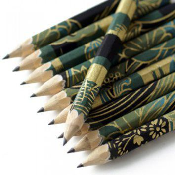 ShanaLogic.com - 100% Handmade & Independent Design! Washi Pencil Set - Mysterious Garden - Asian Inspiration