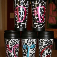 Personalized Monogrammed 16 oz Tumbler Travel Mug Cup with Lid