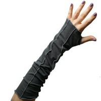 ShanaLogic.com - 100% Handmade & Independent Design! Contrast Stitch Arm Warmers - Grey - Punk Rock Sass