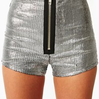Sequin Zip Shorts