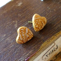 Heart Post Earrings - Tiny hearts in gold and white