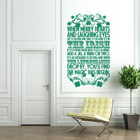 Vinyl Wall Decal Sticker Art - The Irish - St Patrick&#x27;s Day Wall Mural