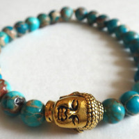 Turquoise Magnesite Beaded Bracelet with Gold Buddha