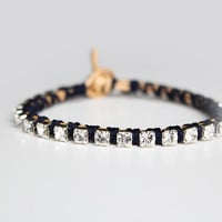 Rhinestone and Gold Leather Bracelet - Stacking Friendship Bracelet