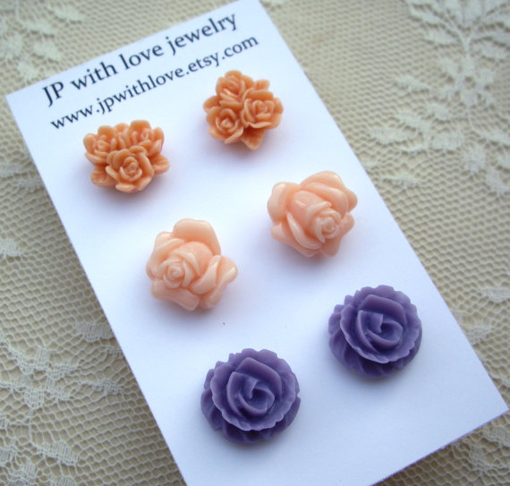 Stud earrings pastel peach orange and purple resin by JPwithlove