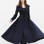 Nave Blue Cashmere Coat Big Sweep Women Wool Winter Coat Long Jacket Tunic / Fast Shipping - NC418
