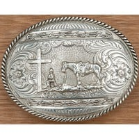 Montana Silversmiths® Antiqued Barbed Edge with Christian Cowboy Oval Western Belt Buckle