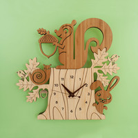 Squirrel Clock: Bamboo Woodland Animal Kids Clock Modern Nursery