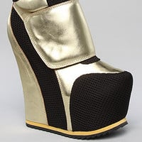 The Succession Shoe in Black Mesh and Gold Leather (Exclusive)