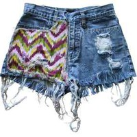 Aztec Maya Indian Native Pattern Denim Frayed Jean Shorts 24