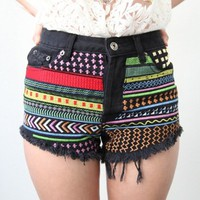 BLACK FESTIVAL NEON EMBROIDERY AZTEC CROSS STUDDED CUT OFF DENIM SHORTS S M L