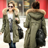 Women Warm Long Sleeve Zip fur collar Winter Coat Jacket Outwear Parka 3 color