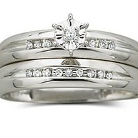 Wedding Ring Set, Diamond Accent 10K White Gold : engagement & wedding : jewelry + watches : jcpenney
