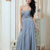 Gorgeous A-line Strapless Sweetheart With Beadings Floor Length Chiffon Prom Dress PD2029