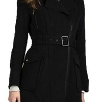 Amazon.com: Andrew Marc New York Caliber Black Belted Wool Coat Jacket Style - MW1AW995: Clothing