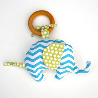 Organic Elephant in Chevron Blue TEETHING ring with Organic Cotton Clutch Toy - Eco Friendly All Natural baby toy