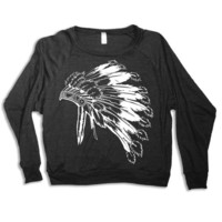 Womens Native American Headdress Tri-Blend Pullover Sweatshirt - American Apparel S M L (heather black)
