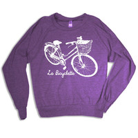 Womens La Bicyclette Tri-Blend Pullover - american apparel S M L (orchid purple)