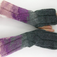 long knit fingerless gloves knit arm warmers fingerless mittens knit ribbed zigzag grey purple ombre fashion curationnation