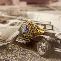 Victorian Gold Diamond Sapphire Ring | Erstwhile Jewelry Co.