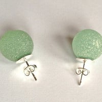 Sea glass marbles, Sterling silver studded earrings, seafoam marbles