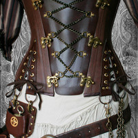 "28"" waist  Steampunk UnderBust Explorer Corset Veggie Leather"
