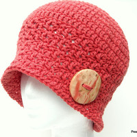 Crochet Women's Hat Cloche Style with Handcrafted Wood Button Rust Red Terracotta Cotton Blend Handmade