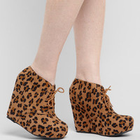 Tan Leopard Pager Platform Shoes