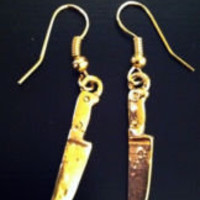 Knife Gold Color Earrings 