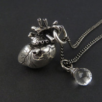 Anatomical Heart Necklace with Sterling Silver Wire Wrapped Quartz - Antique Silver Anatomical Heart Pendant on 24&quot; Gunmetal Chain
