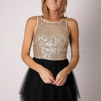Divine sequin bodice cocktail - gold/black at Esther Boutique
