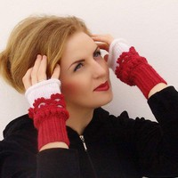 Fingerless mittens Crochet, knit, Arm Wrist Warmers, Cherry  White