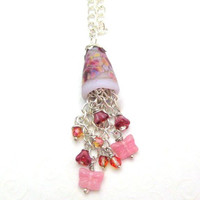 Pink Pendant Necklace Handmade Lampwork Beaded Chain Pendant Pink Butterflies and Flowers