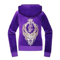 JC Floral Crest Velour Hoodie
