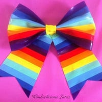 Rainbow Latex Hair and Belt Bow