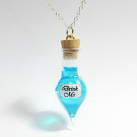 Alice in Wonderland Blue Drink Me Necklace
