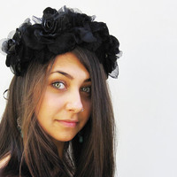 Black Rose Crown - Headband. Winter, Holiday, Black Velvet , Holiday Dress, Black Dress, Holiday Accessory, New Years Eve