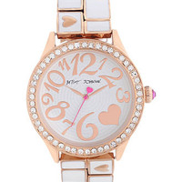 Betsey Johnson Watch, Women&#x27;s White Enamel and Rose Gold Tone Stainless Steel Bracelet 42mm BJ00198-03 - Women&#x27;s Watches - Jewelry &amp; Watches - Macy&#x27;s