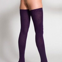 American Apparel Cotton Solid Thigh-High Socks - Forest / One Size